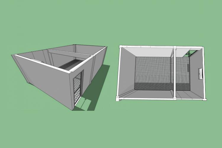 Imagens da planta baixa da galeria, que tem espaço total de 36,45m²