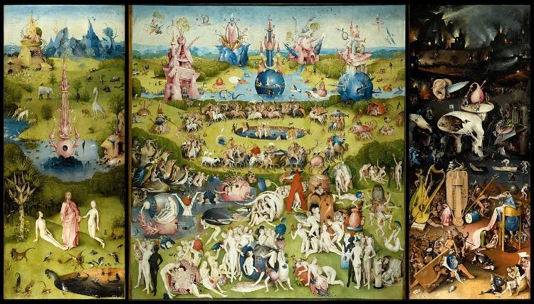 Reprodução do tríptico  'O Jardim das Delícias Terrenas'  (1480-1490), obra-prima de Bosch, que apresenta a história do mundo a partir da criação