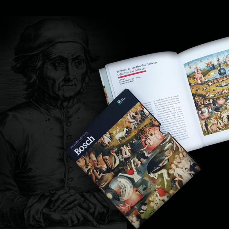 Retrato de Bosch e livro da editora Abril que será sorteado pelo    Pigmum