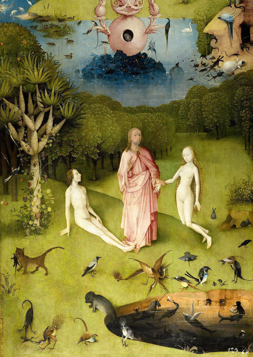 Detalhe do tríptico  'O Jardim das Delícias Terrenas' , com a visão de Adão, Eva e Deus no paraíso terrestre