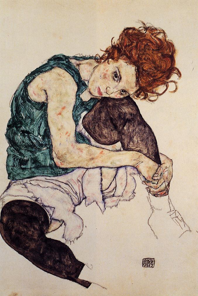 Mulher sentada com joelho dobrado Egon Schiele