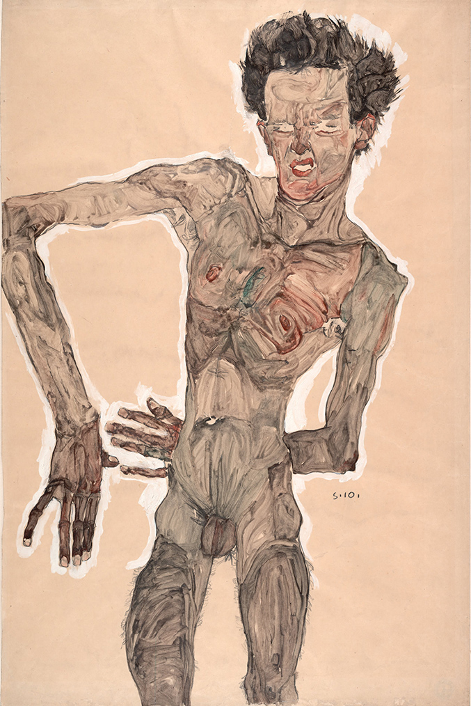 Nude Self-Portrait, Grimacing Egon Schiele