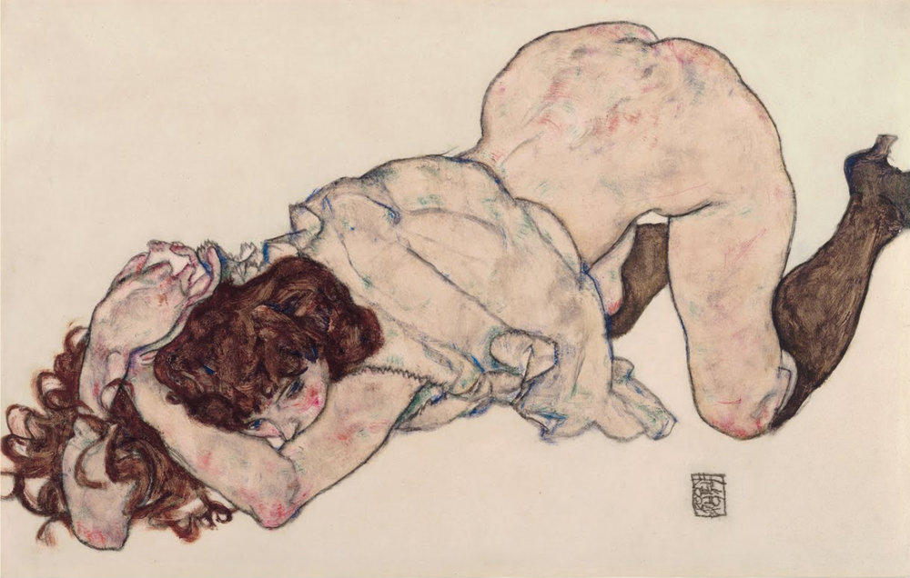 Egon Schiele - Kneeling Girl, Resting on Both Elbows 1917