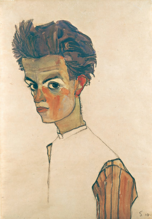 14 - Self-Portrait with Striped Shirt 1910.jpg