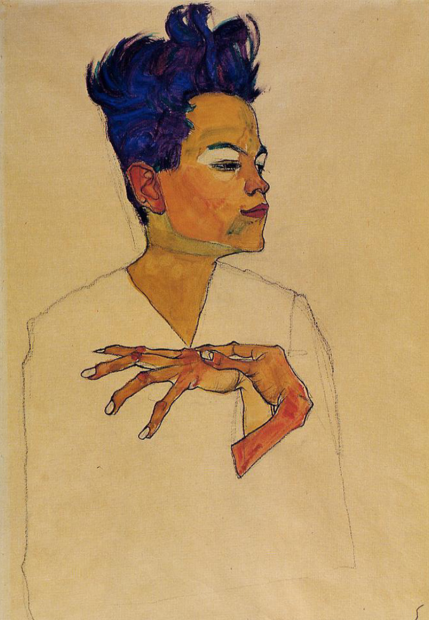 Egon Schiele - self-portrait-with-hands-on-chest-1910.