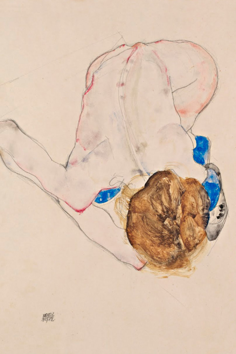 Egon Schiele - Nude with Blue Stockings, Bending Forward 1912