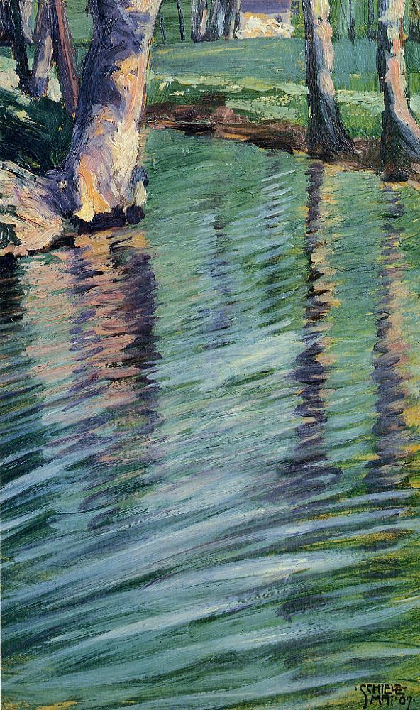 Egon Schiele - Trees Mirrored in a Pond 1907 impressionismo