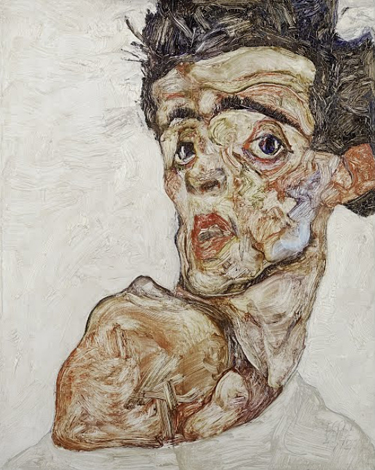 Egon Schiele - Self-Portrait with Raised Bare Shoulder 1912