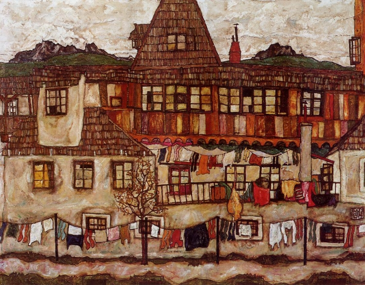 Egon Schiele - house-with-drying-laundry-1917