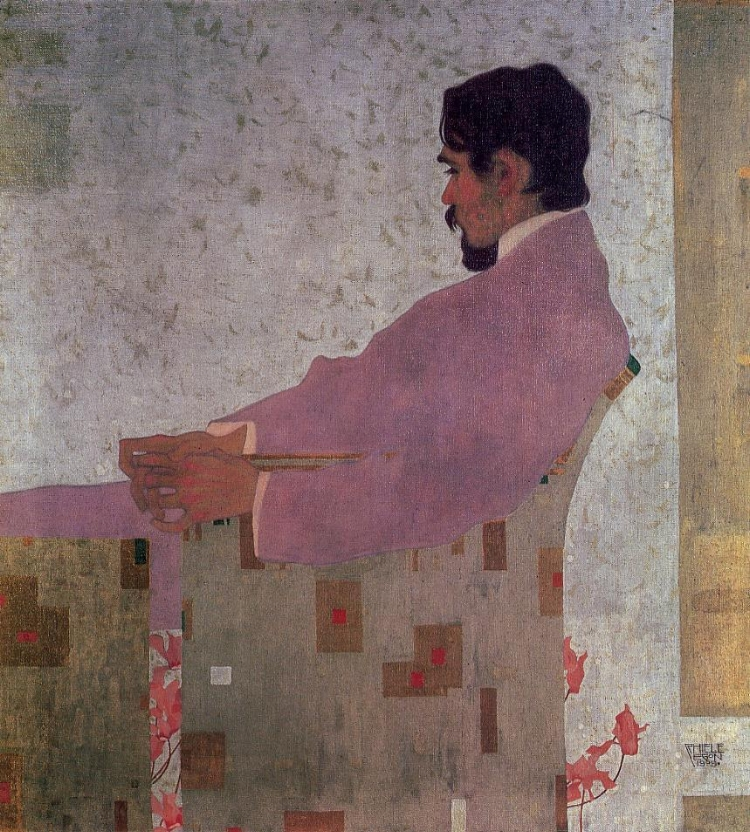 Egon Schiele - portrait-of-the-painter-anton-peschka-1909 art neuveau