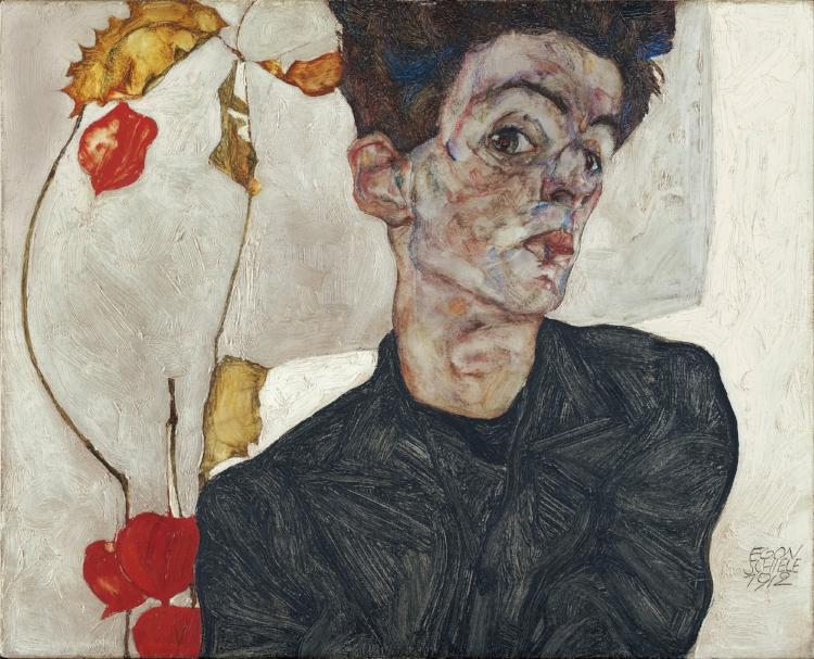 'Autorretrato com physalis'  (1912), pintura a óleo do austríaco Egon Schiele
