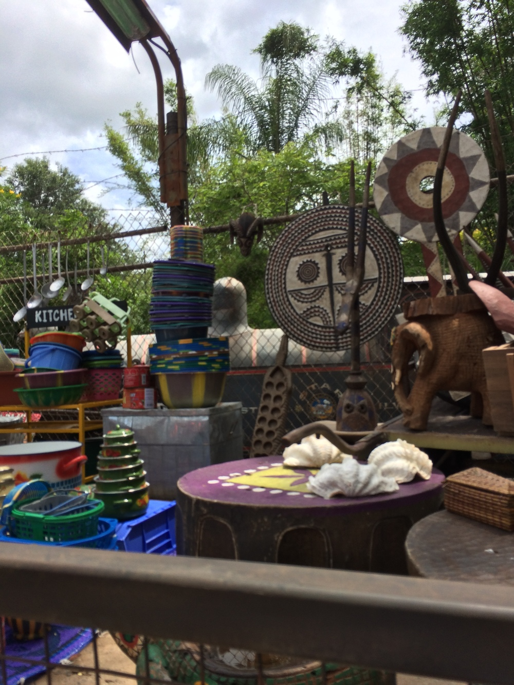 At the end of the Market, there is a sitting area, some covered and some not. Where I sat, you could see the train for Rafiki's Wildlife Reserve go by every few minutes!