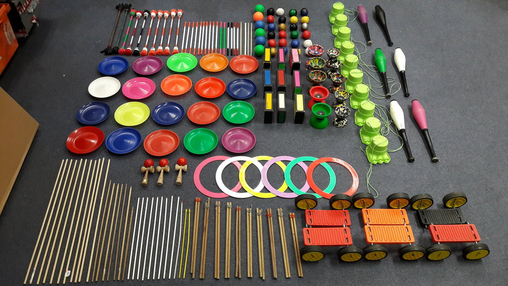 Just some of the kit we take along to circus workshops!