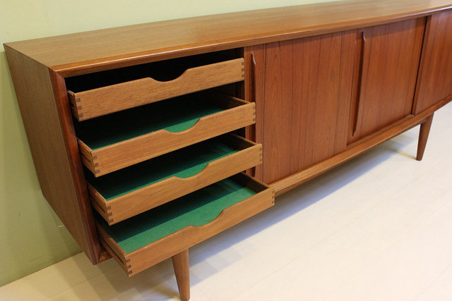 Vintage Danish Credenza : Vintage mid century teak sideboard rare danish midcentury