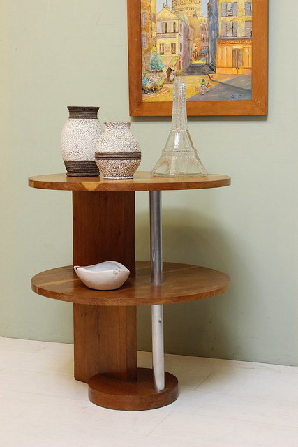 0389 Guiredon Two Tier Oak Art Deco Table Coffee Side End Tables French  Made In France