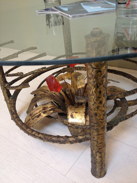 Bronze And Lucite Coffee Table