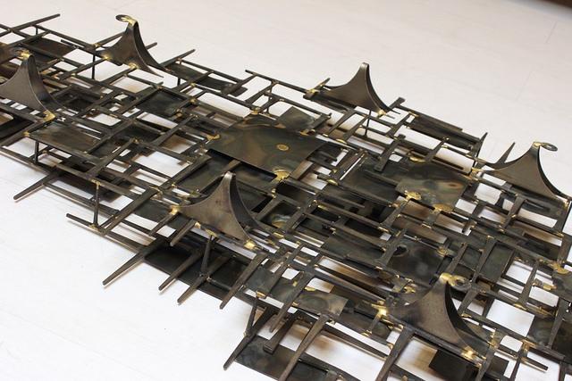 marc weinstein marc creates vintage mid century modern metal wall sculpture hanging art artwork brass