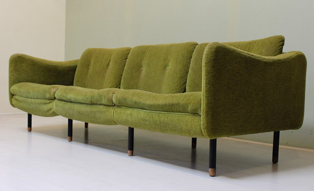 0381 Teckel Mortier Steiner Vintage Mid Century Modern Sofa Couch Green Long  Low French Made In