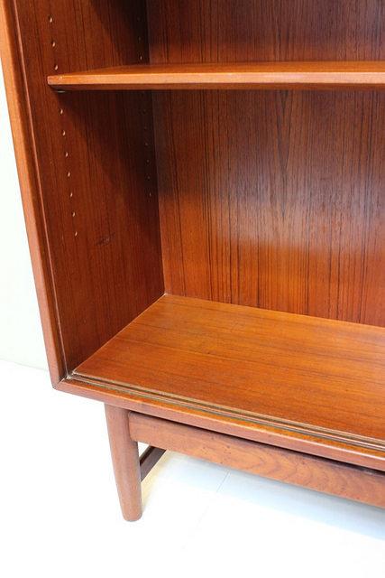 povel dinesen teak bookcase with sliding glass doors vintage mid century modern danish furniture08