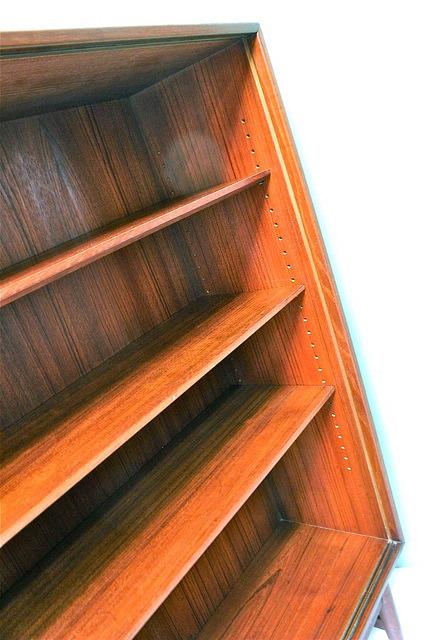 povel dinesen teak bookcase with sliding glass doors vintage mid century modern danish furniture10