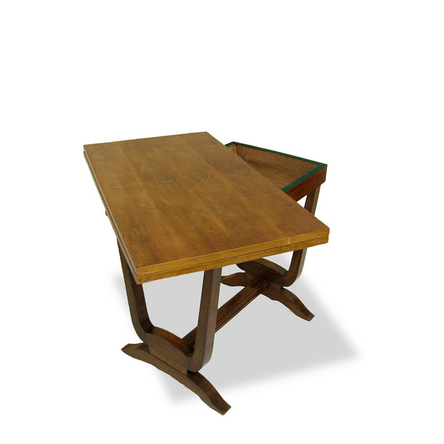 0559 Art Deco French Game Table Vintage Walnut Furniture Made In France