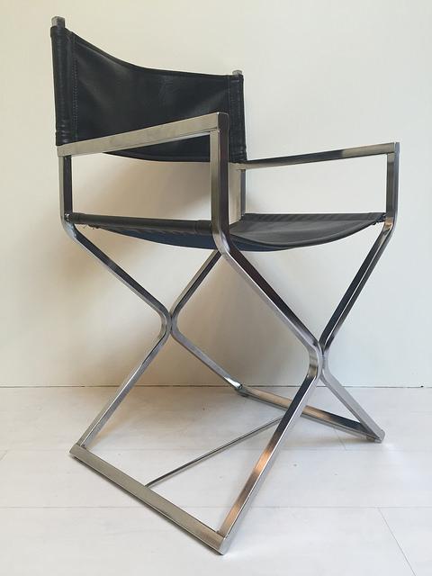 Black Vinyl and Chrome Director's Chairs Vintage Mid Century Modern Pair of  Chairs 1970s_10.jpg - Pair Of Black Vinyl & Chrome Director's Chairs By Virtue — Dejavu