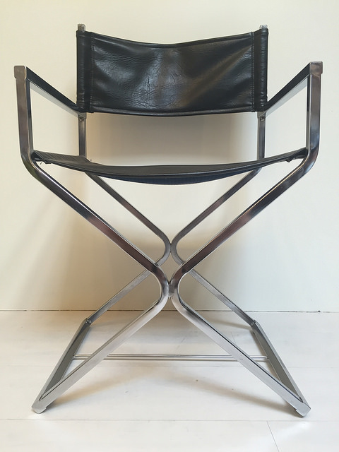 Black Vinyl And Chrome Directoru0027s Chairs Vintage Mid Century Modern Pair Of  Chairs 1970s_08