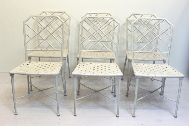 Set Of 6 Calcutta Chairs Brown Jordan Vintage Patio Furniture White Chairs  Mid Century Modern_04.