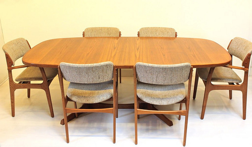 Review Eric Buck OD Mobler Dining Chair Set of Six Chairs Vintage Danish Mid Century Modern Kitchen Pictures - Simple dining room table and chair sets Picture