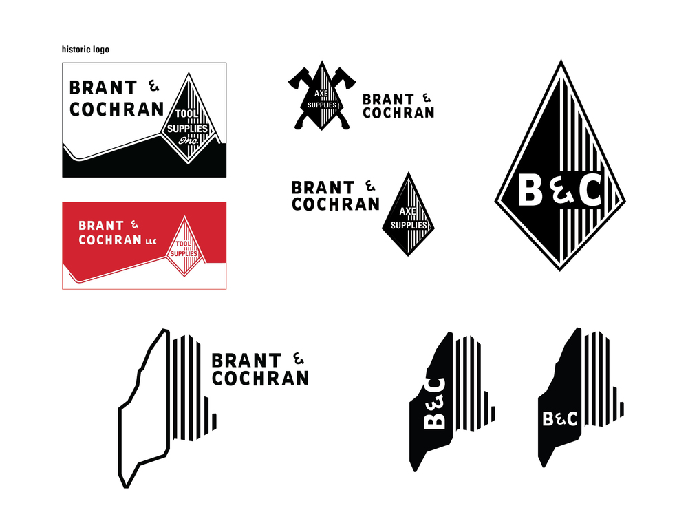 Original logo for B&C, + sketches of the identity process