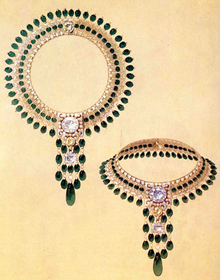 Sketch of emerald, diamond, and platinum necklace, Boucheron, 1928