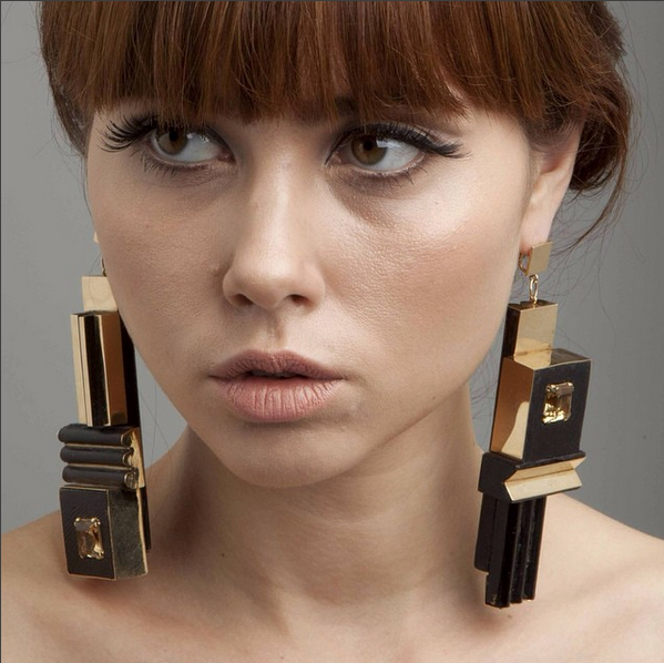 Nevelson earrings, wood, gold, citrine.  image, didier Ltd