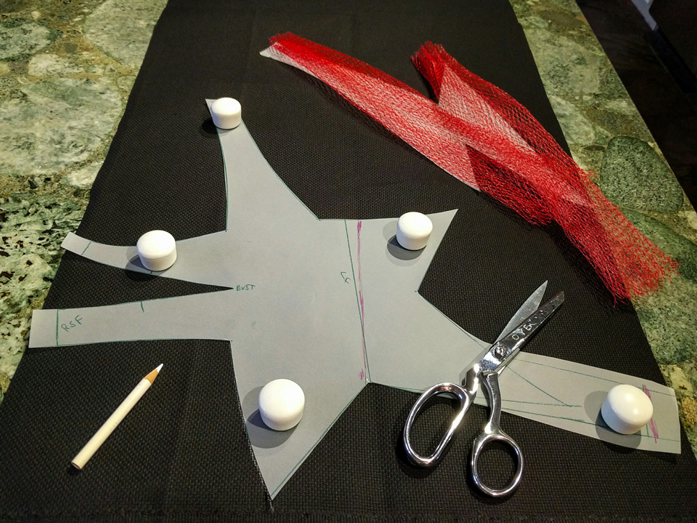 cutting out components for bodice