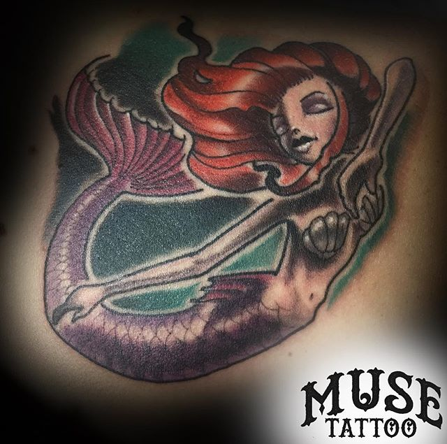 Mermaid tattoo by @grody9! Take a look at our page or check out Cody's for more of his work! #muse #musetattoo #meridiantattoo #boisetattoo #idahotattooers #idahotattoo #supportgoodtattooing #skinart_mag #tam #inked #instagood #instamood #instalike #instadailey #art #style #follow #mermaid #mermaidtattoo #mermaidhair