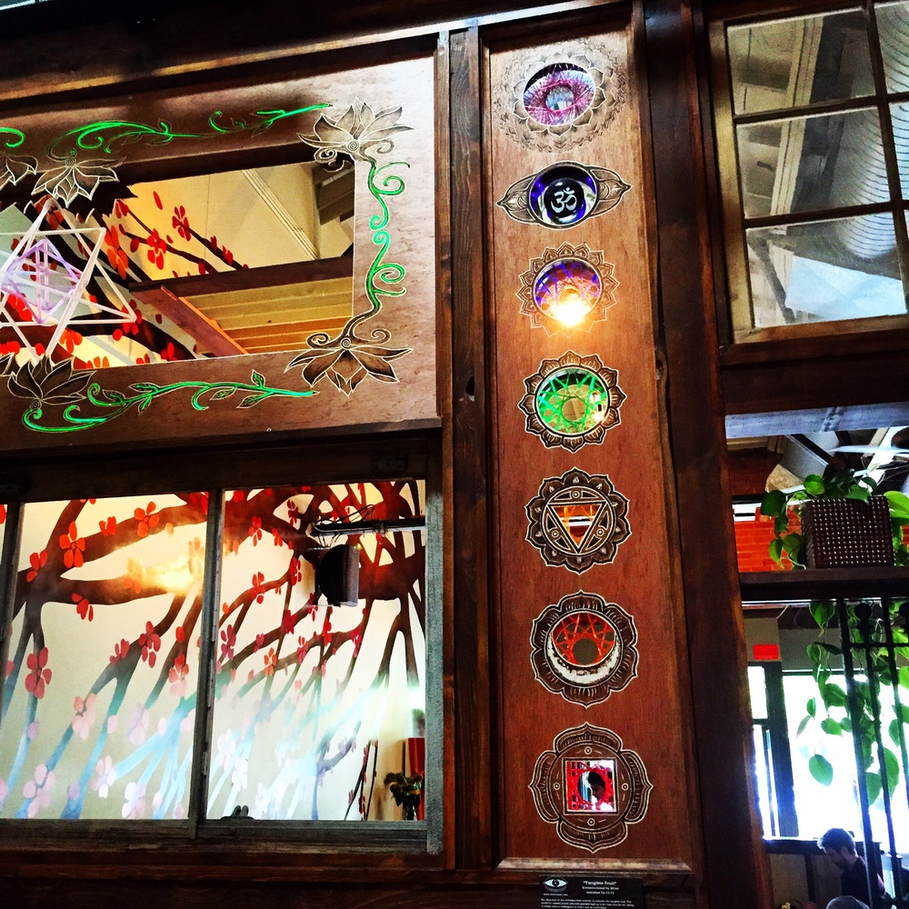 The 7 Chakras depicted in a glass mural in a Boulder, Colorado restaurant.