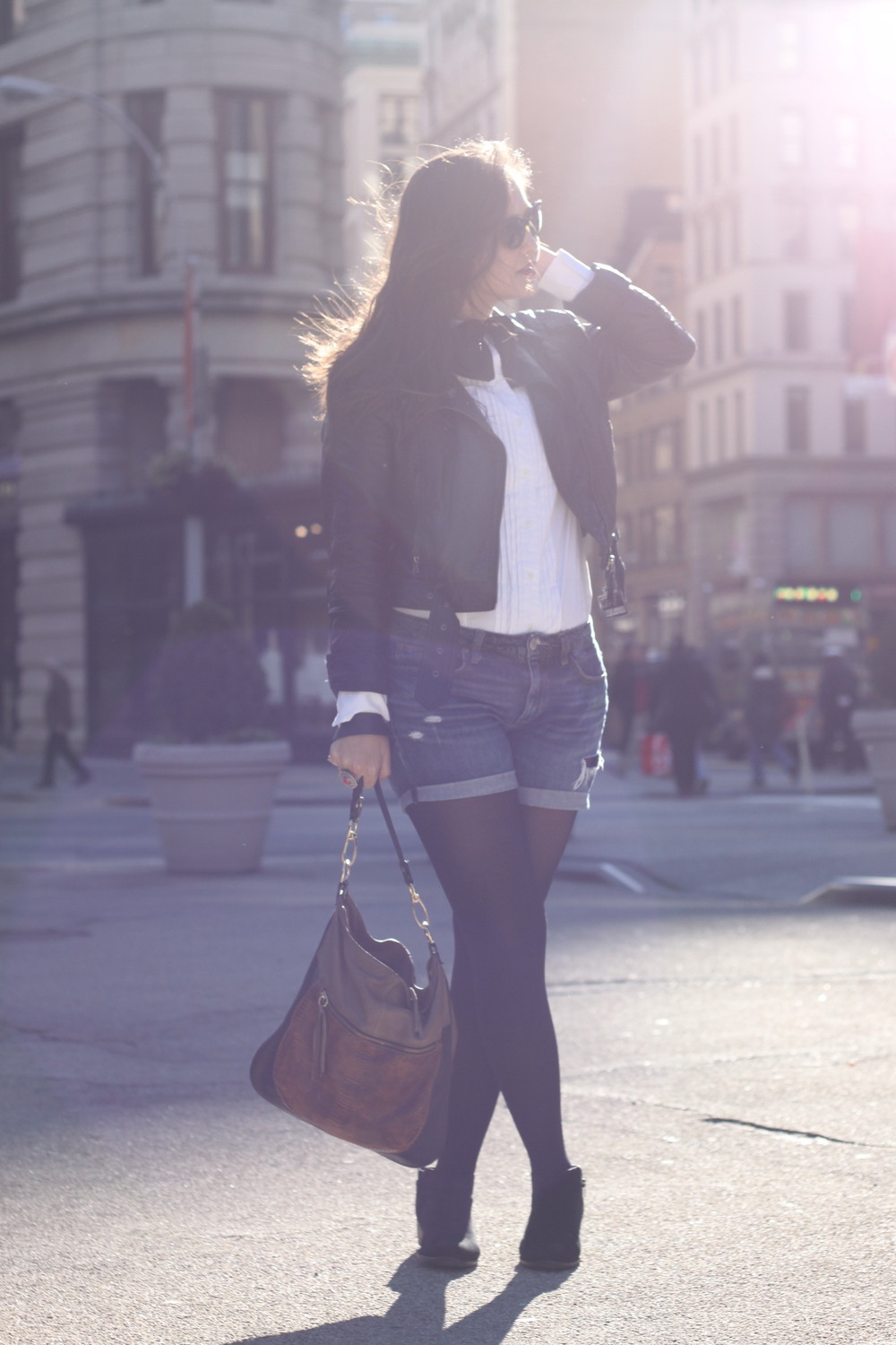 Jacket: H&M. Button down:  Uniqlo . Bow tie: ASOS (similar  here ). Denim shorts: American Eagle. Boots: Dune. Bag: Marni