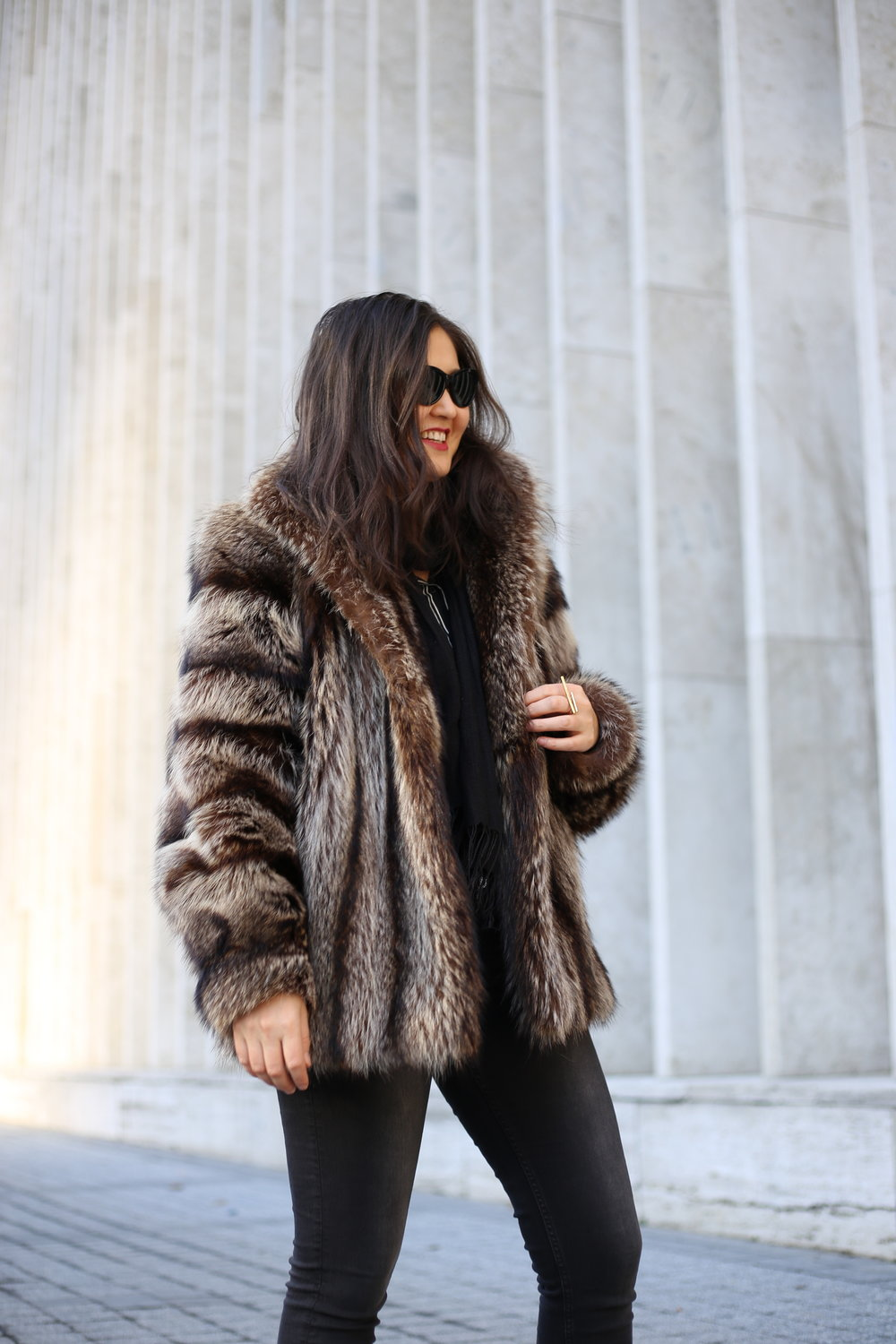Coat: Vintage. Shirt: WhoWhatWear x Target. Jeans: H&M. Boots: ASOS. Bag: Jonathan Adler. Sunnies: Cole Haan.