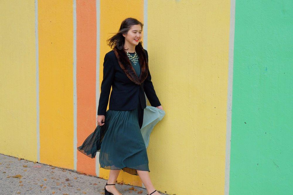 green pleated midi dress