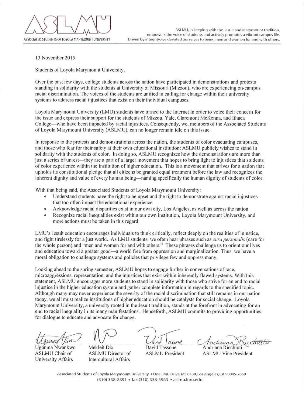 ASLMU Stands in Solidarity