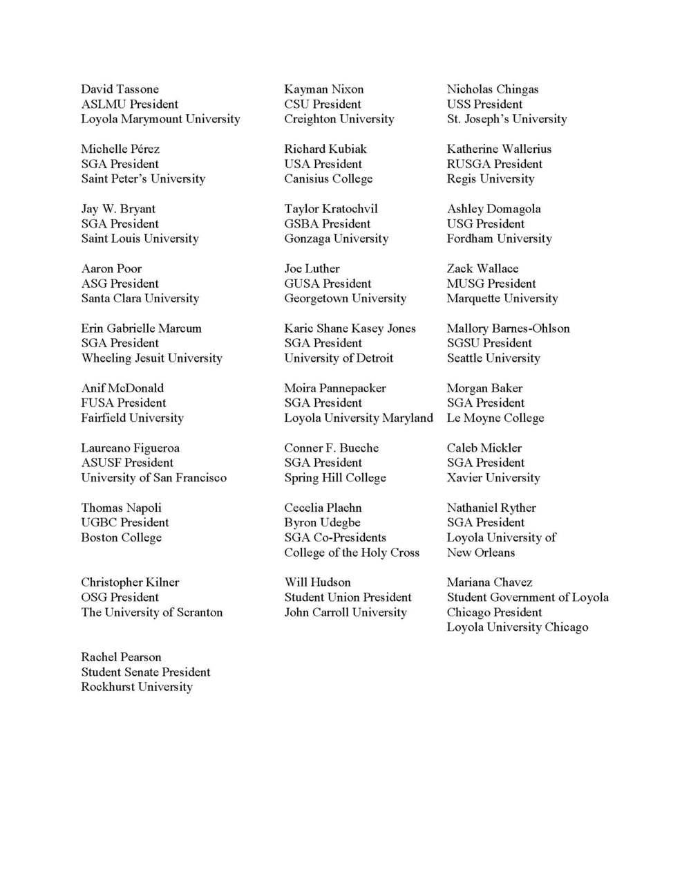 Jesuit Student Body Presidents Collaboration