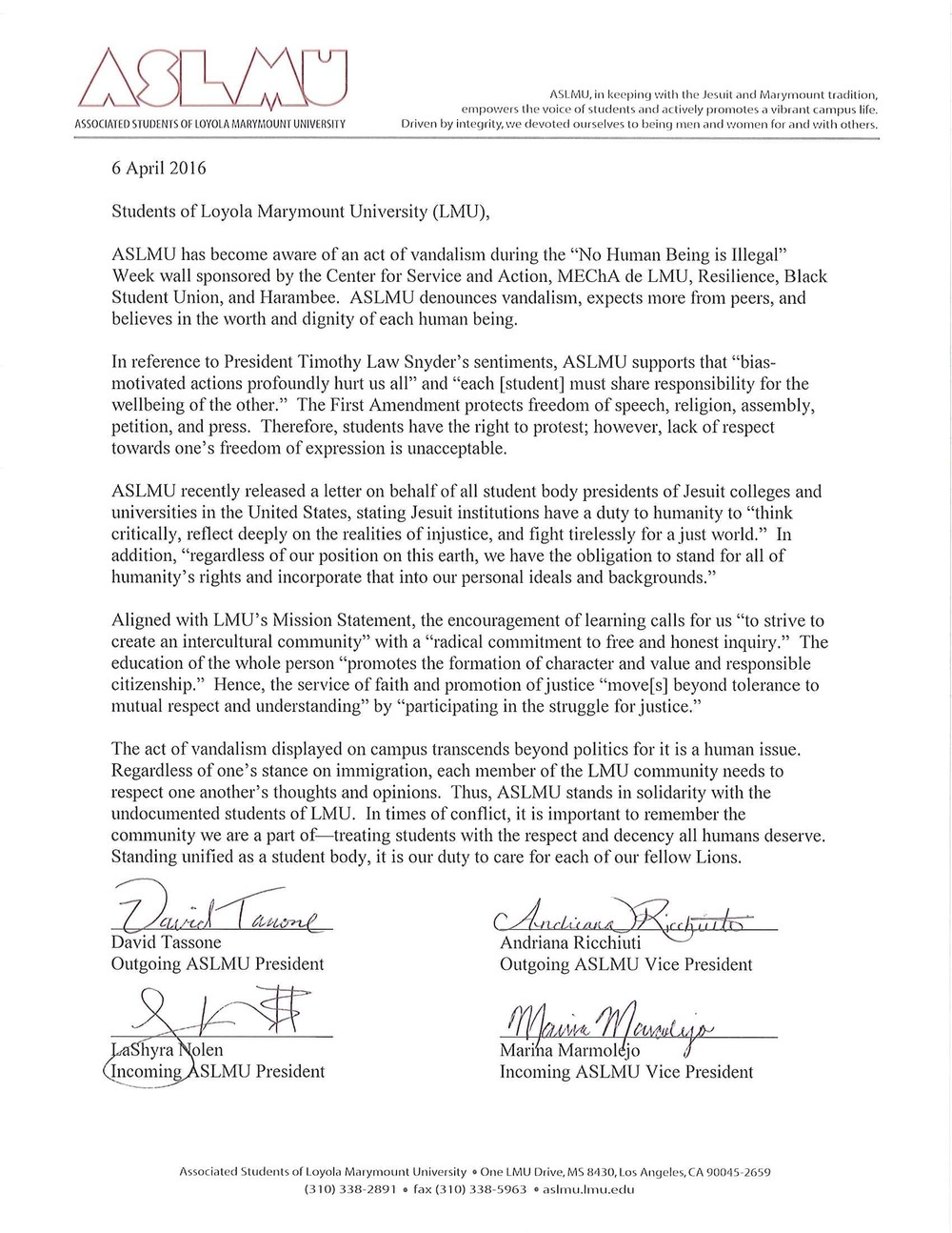 ASLMU Statement in Response to Vandalization