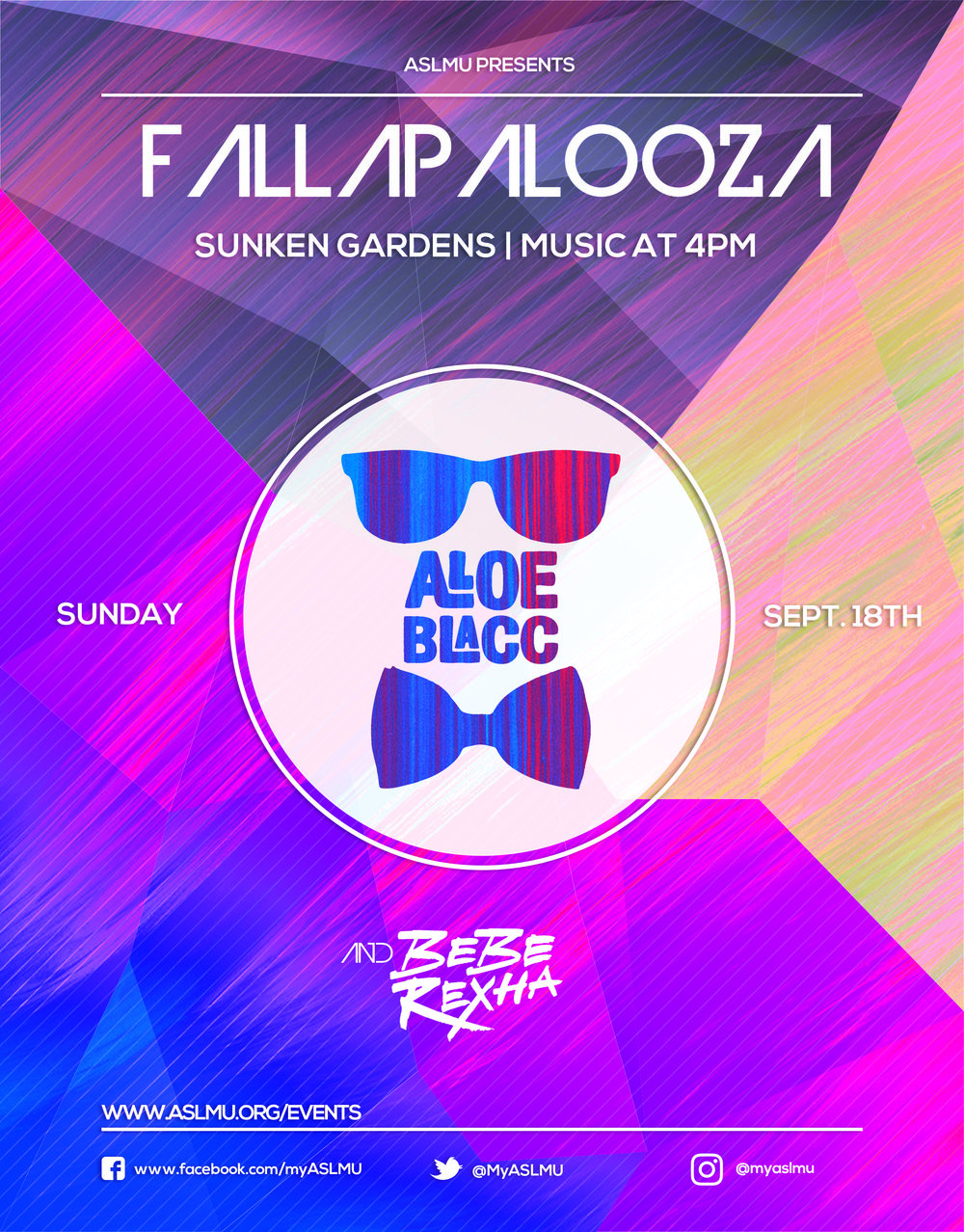 It's that time of the year again Lions!!! Come join ASLMU with an afternoon full of music and fun! LALLAPALOOZA is on Sunday, September 18 starting at 4 pm. This is a FREE concert hosted by ASLMU featuring artists Aloe Blacc and Bebe Rexha! There will be food trucks, vendors, a beer garden, activities, and more! Can't wait to see you all there!!!