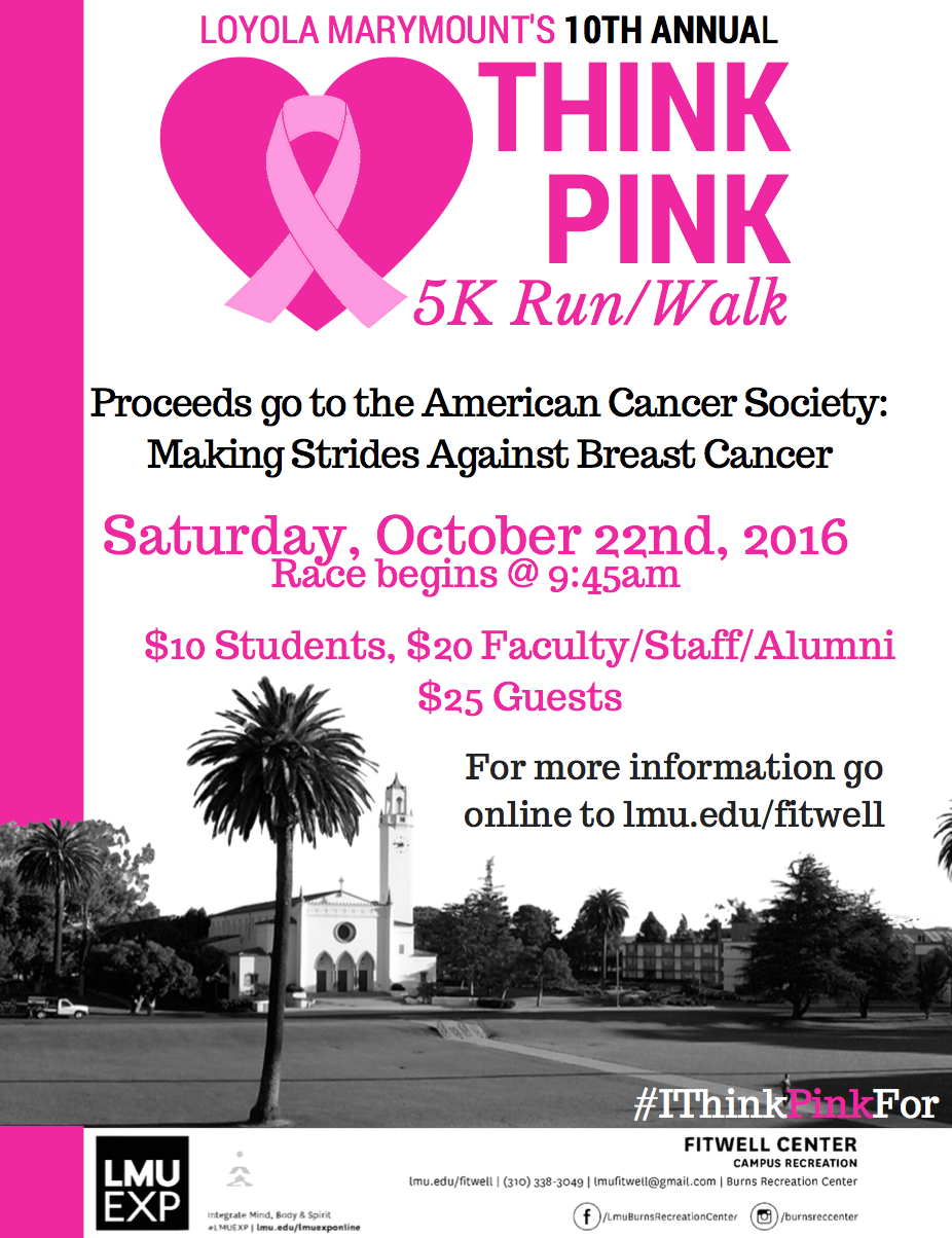 Be sure to register for the Think Pink 5K run/walk by October 20th!! To register, click on the poster above.