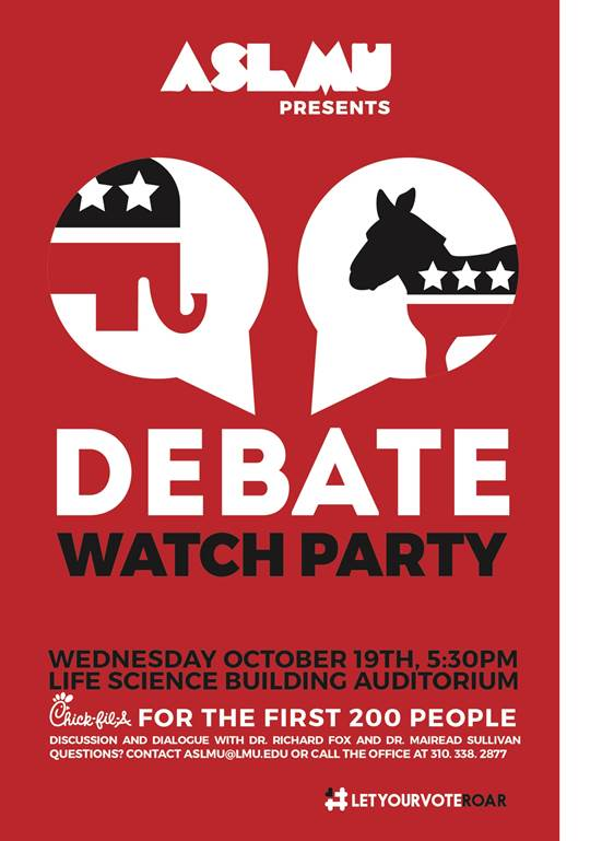 Join ASLMU in watching the third and final presidential debate Wednesday, October  19 at 5:30 in the Life Science Building Auditorium.. There will be a discussion before the debate and after the debate. AND WHO DOESN'T LIKE FREE CHICK-FIL-A!!! Hope to see you all there!!