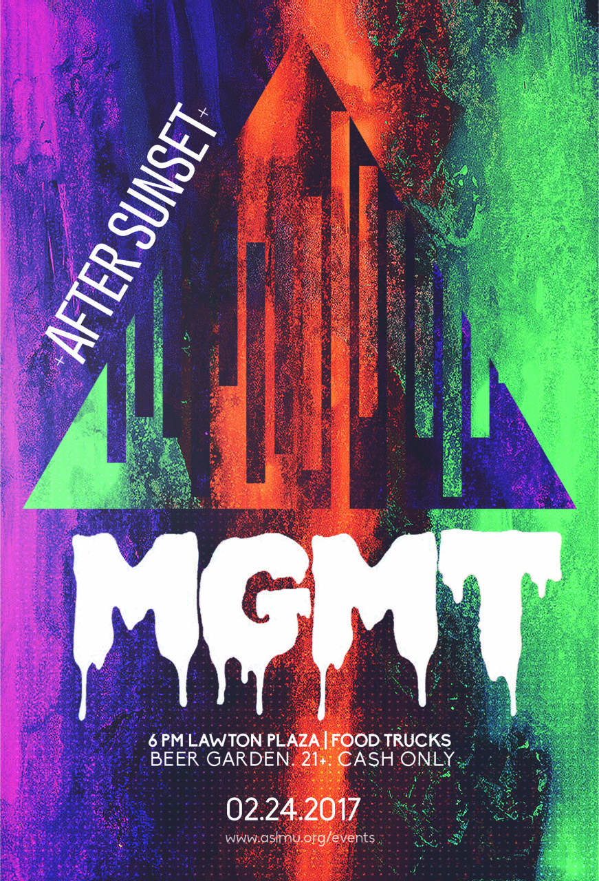 It's that time of year Lions!!!! Come join ASLMU for After Sunset on Friday, February 24 on Lawton Plaza!! Our headliner this year is MGMT!!!!! Come enjoy our beer garden and food trucks. This is a cash only event. Look forward to seeing you there!!! Go Lions!!!!