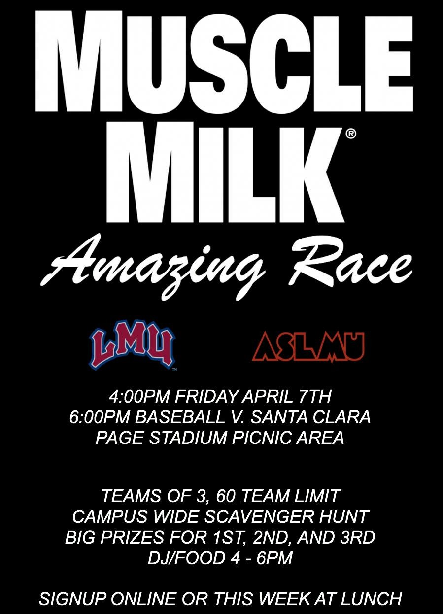 "Lions!!! Join us this Friday, April 7 for Muscle Milk's ""Amazing Race!!"" Awesome Swag and prizes for the winning teams. Sign up  to participate. Hope to see you there!! Go Lions!!!"