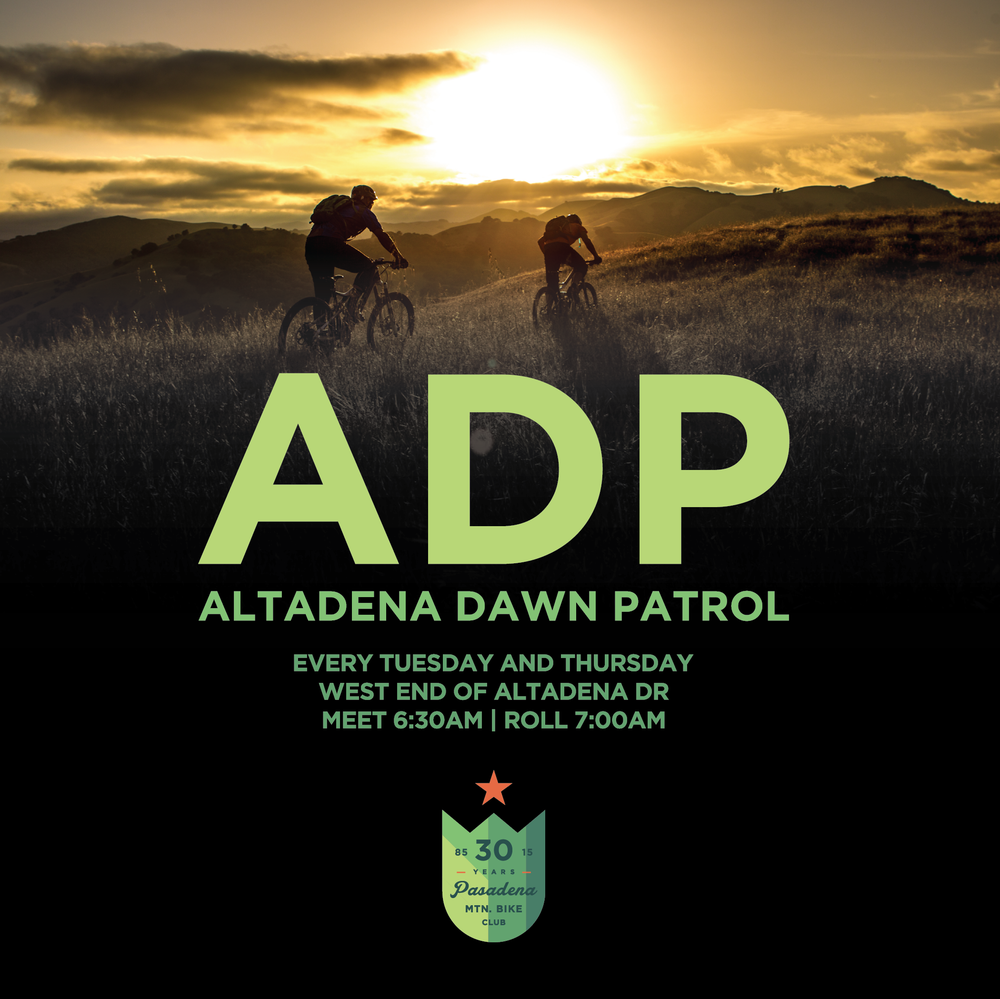 ALTADENA DAWN PATROL The original sunrise shred. Meet at the Western dead end of Altadena Drive for a 1 - 1.5 hour ride. Brown/El P, Cherry Canyon and Lower Sam/Sunset are all on the menu. Conversational pace, no drop. Meet at around 6:30am to roll no later than 7. Fine Print: All participants must be 18 years or older or accompanied by a parent or guardian. Participants are required to wear a helmet at all times. All participants must come prepared with plenty of water, snacks, extra tubes and tools to be self-sufficient and maintain a proper functioning bike. All participants understand that risks are involved with any outdoor activity and mountain biking can be a dangerous sport where injury, accidents and death have occurred. All participants are responsible for their own safety and are solely responsible for determining whether they are capable of handling the terrain and if they possess the skills needed to ride on such terrain. Pasadena Mountain Bike Club and Pasadena Cyclery are not responsible for the safety of any participants that attend this open event.