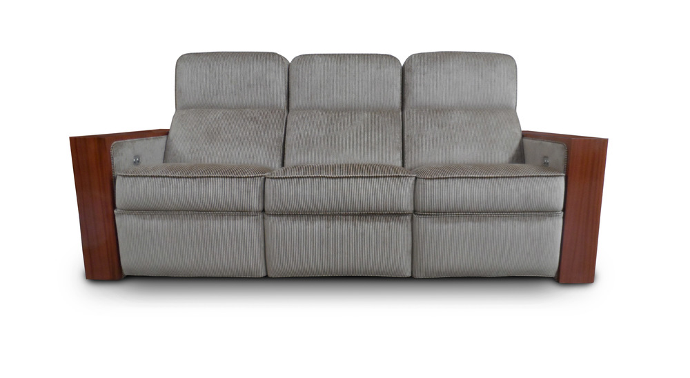 Reclining sofa; Wood veneer arms and back