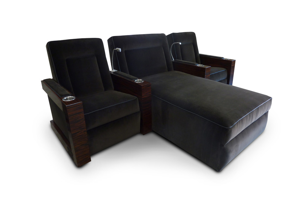 Single-Lounger-Single; Macasser ebony wood veneer arms; reading lights