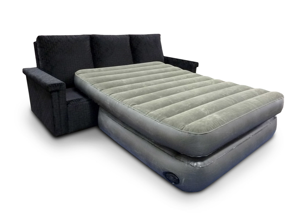 Soho Euro Bed; Seat cushions tuck away and mattress inflates in 3 minutes; full and queen sizes